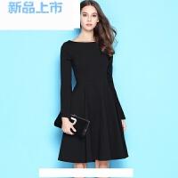 一字肩中长小黑裙秋装女装黑色连衣裙礼服长袖红裙子