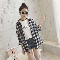 韩国ulzzang衬衫女中长款学院风时尚潮春秋长袖黑白格子外套