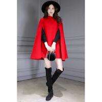 【新品上市】斗篷外套女学生可爱2018新款女装秋冬中长款修身毛呢外套女红色英伦