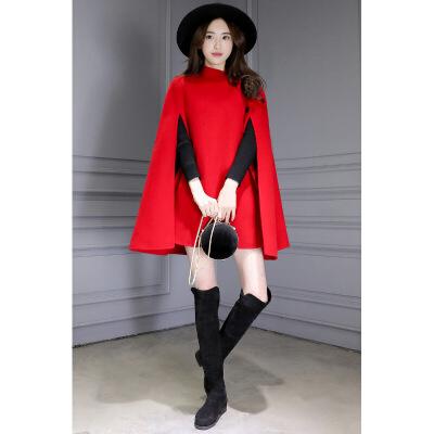 【新品上市】斗篷外套女学生可爱2018新款女装秋冬中长款修身毛呢外套女红色英伦 本产品为定制产品,页面品牌等参数均仅供参考,并非实物,默认拍下的为同意页面中描述