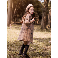女童呢子大衣中长款秋冬装2018新款洋气儿童格子毛呢外套女宝宝潮