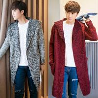 男士针织衫开衫外套披风秋季韩版潮流毛衣中长款风衣