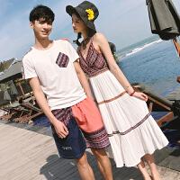 18夏季旅游度假女收腰显瘦长裙男短袖T恤+短沙滩裤情侣套装名族