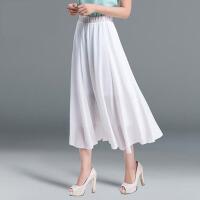 雪纺半身裙长裙纯色大摆裙沙滩裙仙女裙大码荷叶边半身长裙女夏