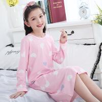 女童睡裙长袖棉春秋儿童睡衣公主薄款秋季中大童小女孩亲子母女
