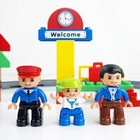 大颗粒积木拼装拼插轨道火车儿童玩具1-2-3-6周岁