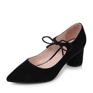 Tata/他她2017秋羊绒皮时尚绑带尖头圆柱跟浅口女鞋16011CQ7