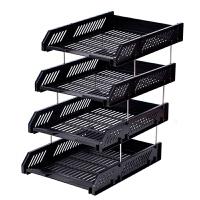 桌面办公用品文件架三层文件座收纳盘资料筐框