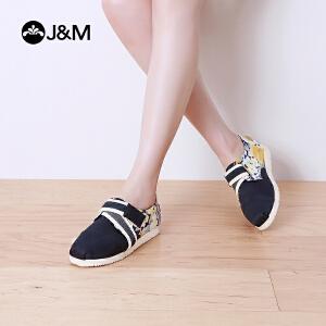 jm快乐玛丽夏季魔术贴时尚平底休闲个性帆布鞋学生舒适女鞋52027W