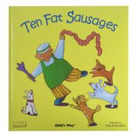 英文原版绘本廖彩杏书单Ten Fat Sausages 超大开洞洞书 附CD