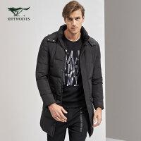七匹狼羽绒服青年男士冬季保暖白鸭绒中长款厚羽绒品牌外套男装