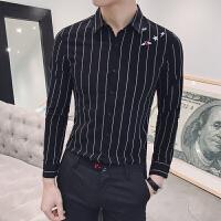 春装新品翻领夜店衬衣男士长袖衬衫休闲条纹衬衫刺绣花衬衣潮男