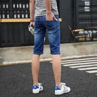 新款2018男士裤子夏季夏装男装牛仔裤中裤短裤五分裤子休闲男潮流