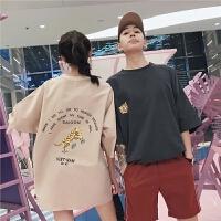 2018潮流情侣装夏装新款韩版老印花短袖T恤男女学生宽松半袖潮