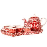 结婚敬茶杯 结婚礼物用品婚庆茶具套装喜字陶瓷茶壶茶杯情侣夫妻对杯