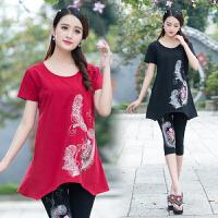 中国风女装上衣夏季新款盘扣绣花圆领民族风中长款大码绣花T恤女
