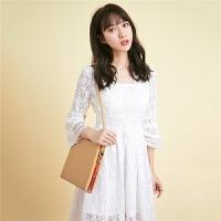 【3折到手价179元】夏蕾丝裙子拉夏贝尔7m秋装新款韩版V领白色A字长款连衣裙女70009663