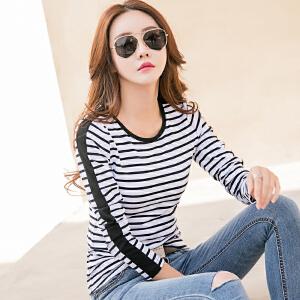 春季新款韩版棉质圆领条纹修身显瘦长袖打底衫女款t恤上衣潮
