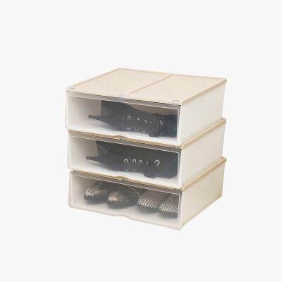 当当优品 加长款抽屉式塑料防潮加厚透明鞋盒 3个装  颜色多选当当自营 方便拿取 防尘防潮  升级加宽版 可存放两双鞋或长靴