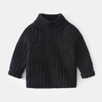 男宝宝毛衣高领儿童纯色加绒针织衫女童冬季套头外套男童线衣冬装