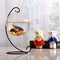 现代简约透明玻璃鱼缸家居摆件创意田园餐桌花瓶客厅装饰品 23cm铁架+120拉尖+彩石