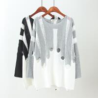 大码女装秋装新款韩版蝙蝠袖条纹撞色套头针织衫胖MM长袖上衣