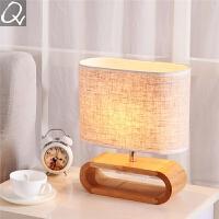 北欧台灯装饰时尚简约原实木布艺卧室床头书桌客厅日中式台灯