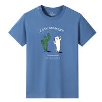 男装夏季 男士短袖T恤雾霾蓝宽松大码潮流字母印花半袖棉04