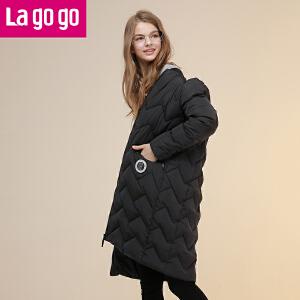 Lagogo拉谷谷2016年冬季新款时尚拉链口袋纯色羽绒服