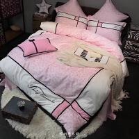 粉色公主风豹纹贡缎长绒棉四件套棉刺绣被套床单双人床上用品 粉红色 ZYJ-粉豹纹四件套