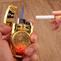 创意金属充气打火机A025直冲七彩灯手表点烟器个性男士送男友生日礼物定制贵族创意点烟器