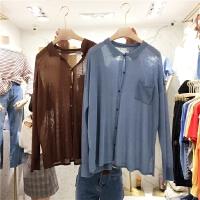 港味chic纯色宽松显瘦长袖单排扣简约休闲翻领针织衫X