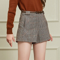 冬装新品 威尔士格纹修身显瘦短裤赠腰带女D748708K40