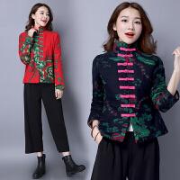 秋装新款 民族风女装上衣中式棉麻印花短款棉衣加厚外套