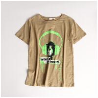 夏季新款女装圆领舒适竹节棉卡通字母短袖学生T恤打底衫CY