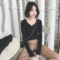 2018秋装新款修身针织衫女长袖秋冬开衫短款毛衣外套紧身黑色上衣