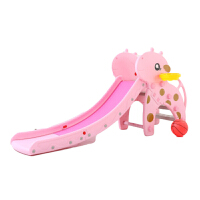 加厚滑滑梯室内家用 儿童滑梯 多功能小型上下宝宝滑梯幼儿园玩具 粉熊基础款(无音乐) 桔红色
