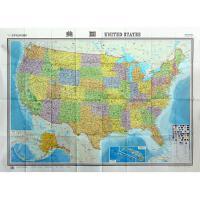 2019年新版 世界热点国家地图美国展开尺寸1496mm*1068mm大幅面比例尺1:360万 中英文对照高清折叠图