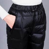 2018羽绒裤女外穿高腰加厚白鸭绒户外显瘦双面保暖大码棉裤