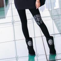打底裤女士秋冬季新加绒水钻潮牌莫代尔裤显瘦修身时尚休闲 黑色