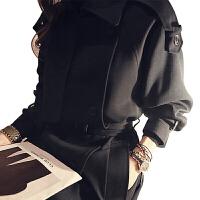 孕妇孕妈风衣2019春款秋季中长款韩版过膝收腰chic英伦风黑色女士春秋风衣外套 黑色