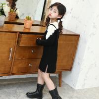2019 秋季新款韩版时尚拼色假两件毛衣中长款女中大童蕾丝花边外穿 毛衣假两件