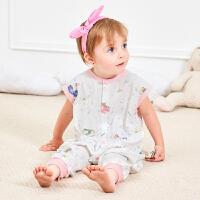 龙之涵婴儿纯棉纱布睡袋 宝宝无袖分腿睡袋 吸汗透气护肚肚防踢