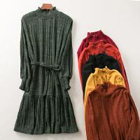 冬季新款纯色简约气质显瘦中长款连衣裙