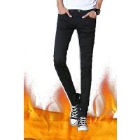 韩版潮流青年学生带绒裤子男秋冬季男士加绒牛仔裤修身小脚裤