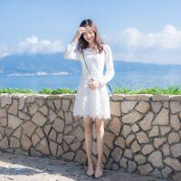 2018春装新款女装圆领气质名媛显瘦打底裙雪纺拼接蕾丝长袖连衣裙 白色