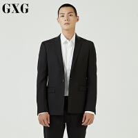 GXG男装西服 秋季韩版时尚青年修身气质百搭黑色休闲西装外套男潮