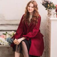 冬装新品 宽松系带长袖毛呢大衣羊毛外套女D741059D00