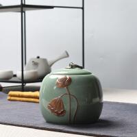 哥窑茶叶罐陶瓷密封罐储存罐冰裂茶叶罐大号龙泉青瓷茶罐
