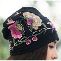 中国风女装春装新款原创设计民族风刺绣包头帽针织头巾帽休闲帽子